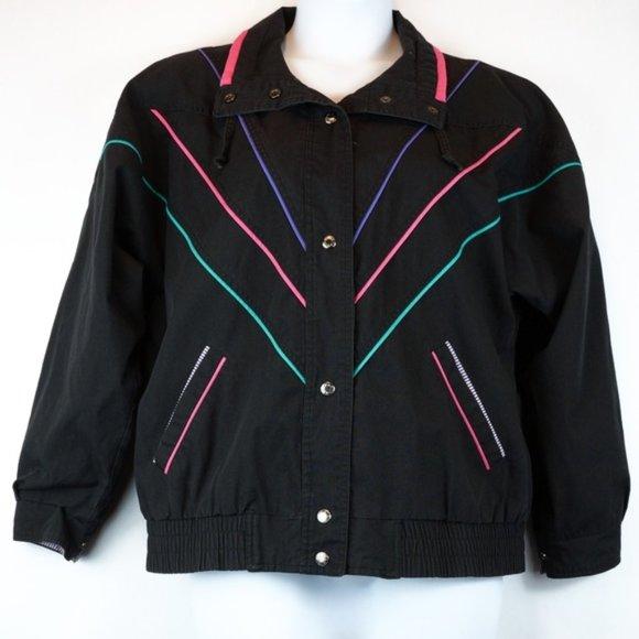 Vintage Jackets & Blazers - 3/$20 90s Karizma Jacket Black Green Purple Pink